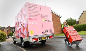 Ocado's Percy Pig delivery van to mark the arrival of the full M&S food range to the online supermarket's website