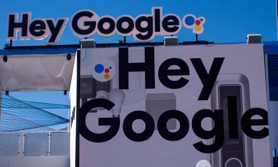 Hey google sign outside a convention hall at CES 2018 in Las Vegas