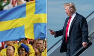 Composite of the Swedish flag and Donald Trump