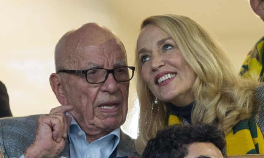 Rupert Murdoch and Jerry Hall watching Australia's defeat to New Zealand.
