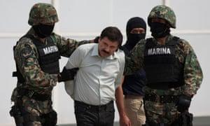 Joaquin 'El Chapo' Guzman after his February 2014 arrest in Mexico City.