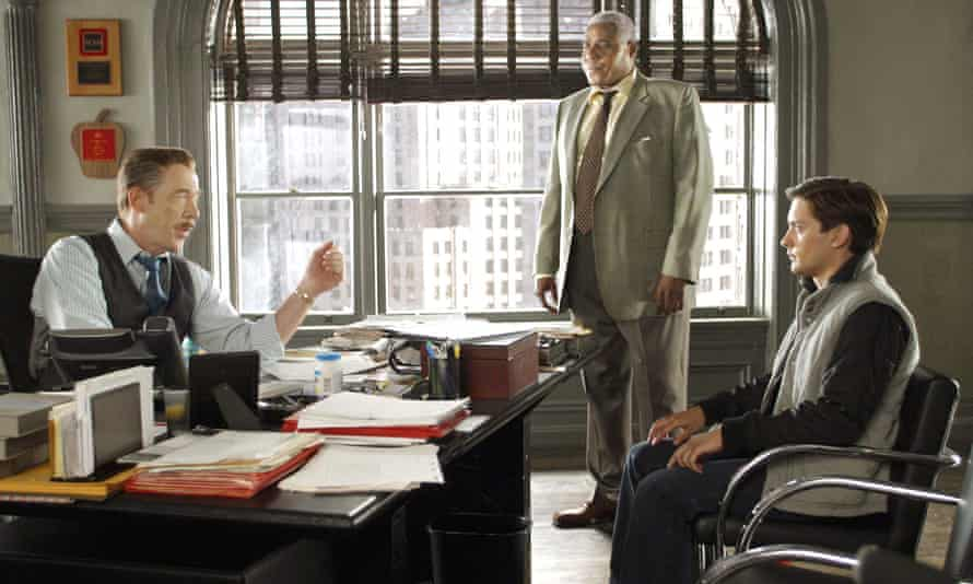 From left, JK Simmons, Bill Nunn and Tobey Maguire in Spider-Man 2, 2004.