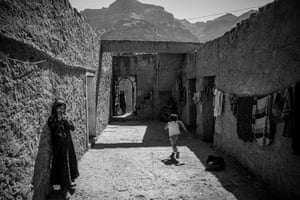 Children play in the isolated mountain village of Al-Rukbah in Adhale governorate
