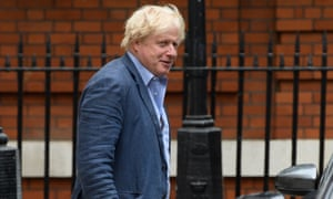 Boris Johnson leaves his central London residence on Wednesday.