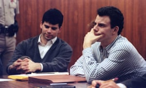 Erik Menendez and brother Lyle listen to court proceedings in Beverly Hills