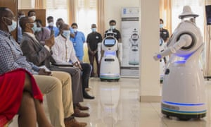 One of the robots donated by the UN presents itself in Kigali, capital of Rwanda