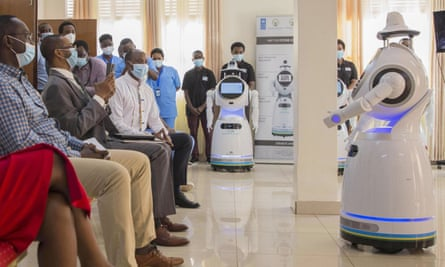 One of the robots donated by the UN introduces itself in Kigali, capital of Rwanda