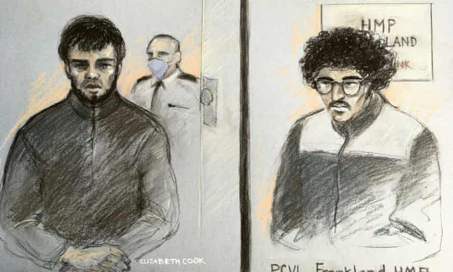Parsons Green Tube bomber Ahmed Hassan, left, and Manchester Arena plotter Hashem Abedi (right) as seen from the same video link from HMP Frankland to Westminster magistrates' court.