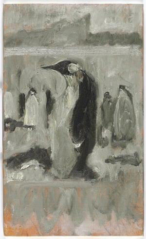 Emperor Penguin - Auster (2013), oil on canvas board, 40.5 x 30.5 cm.