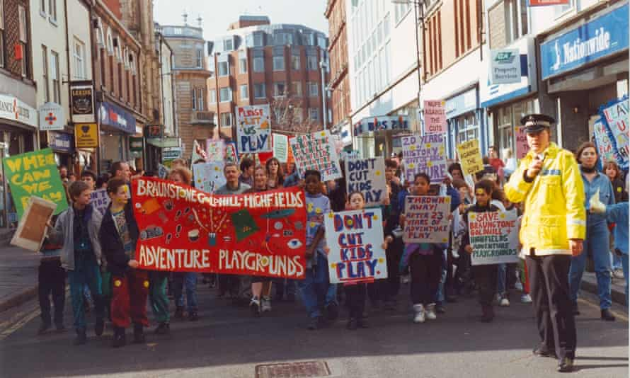 Children protest in Leicester in 2012 against the closure of the Highfields adventure playground.
