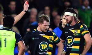 Dylan Hartley (centre), the England captain, is sent off six minutes after coming off the bench for Northampton against Leinster in the European Champions Cup.