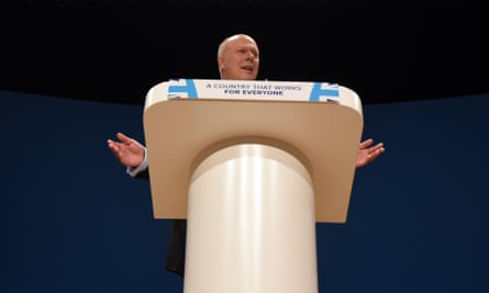 Secretary of State for Transport, Chris Grayling, delivers a speech about the economy on the second day of the Conservative Party Conference 2016 at the ICC Birmingham on October 3, 2016 in Birmingham, England. (Photo by Carl Court/Getty Images)