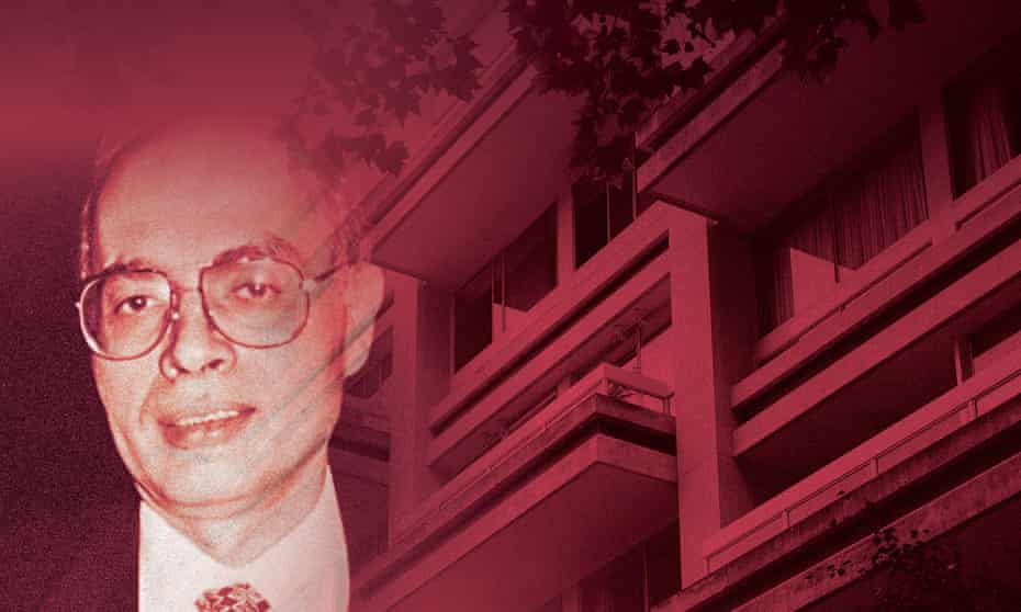 Ashraf Marwan and the block of flats from which he fell to his death in 2007