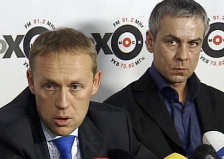 Andrei Lugovoi, left, and Dmitry Kovtun speak to Ekho Moskvy radio in November 2006.