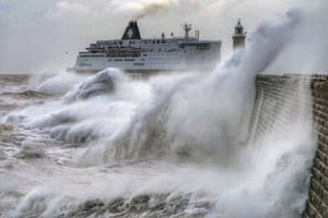 Tynemouth Pier, England The MS Princess Seaways battles through the waves as gale force winds hit the north-east