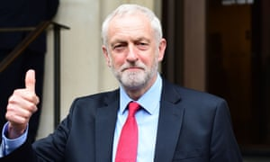 The Labour leader, Jeremy Corbyn, gives the thumbs up