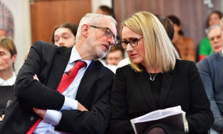 The Labour leader, Jeremy Corbyn, and the shadow business secretary, Rebecca Long-Bailey.