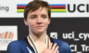 Kelly Catlin on the podium after winning bronze in the individual pursuit final at the 2018 world track championships
