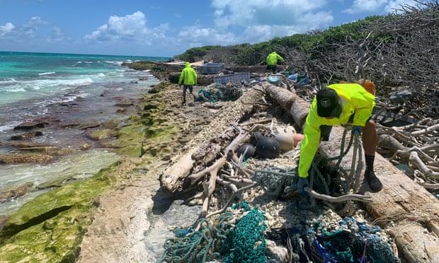 Shoreline cleanup of Kapou. Photograph: Kevin O'Brien of PMDP