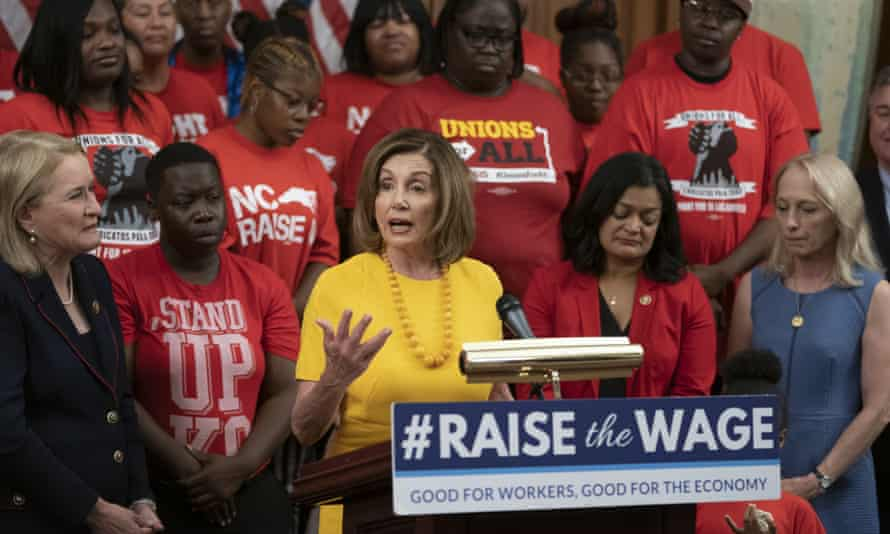 House speaker Nancy Pelosi holds a news conference as the House voted to raise the federal minimum wage on 18 July.