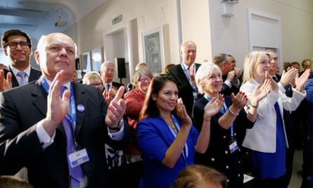Britannia Unchained authors Priti Patel (front row, second left) and Liz Truss (fourth left) are among the Conservative MPs at the launch of Boris Johnson's leadership bid in June 2019.