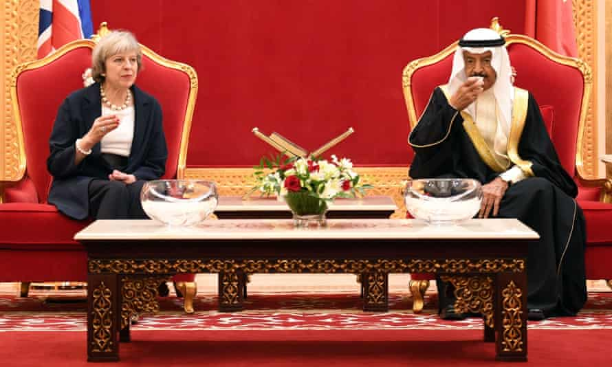 Theresa May with Bahrain's PM, Prince Khalifa bin Salman bin Hamad al-Khalifa.