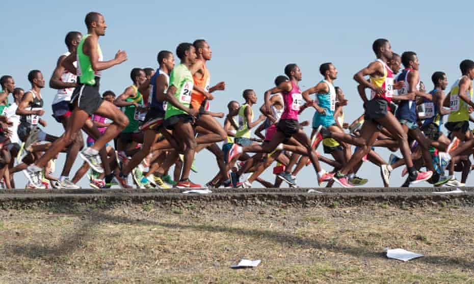 Club runners compete in a half marathon in Sebeta, Ethiopia.