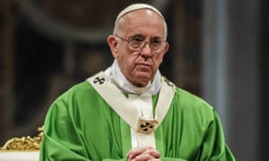 Pope Francis leads a mass for the synod of bishops on Sunday.