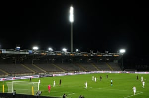 Manchester United take on Lask in the all-but-empty Linzer Stadion.