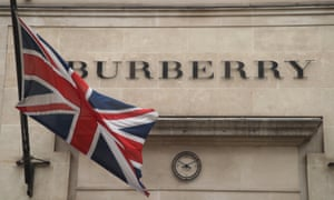 Burberry sign with Union Jack flag.