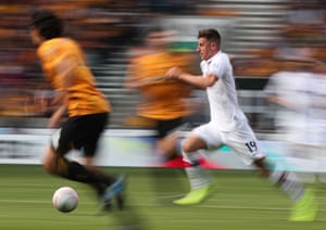 Mason Mount (pictured) burts through a lacklustre Wolves midfield. He added the last goal and Fikayo Tomori scored the first of the match, meaning Chelsea's win came courtesy of three 21-year-olds.
