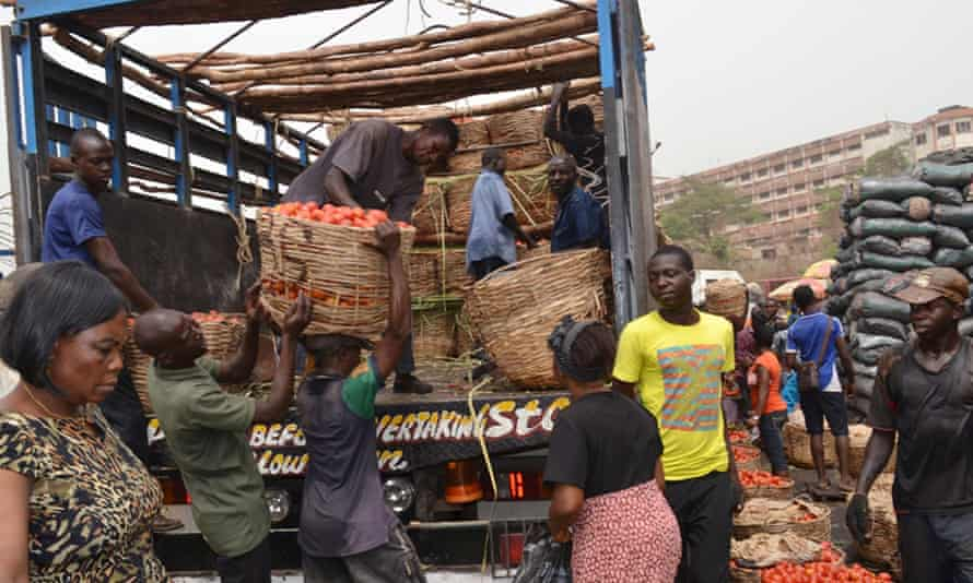 Workers unload tomatoes at a market in Enugu, Nigeria