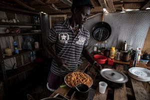 Thierno cooking.