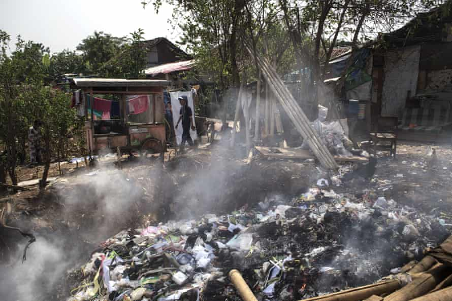 Rubbish from the Dayeuhkolot slum, some of it toxic, is regularly burned in the village.