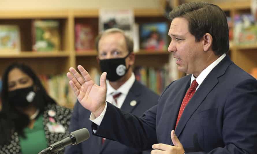 Florida Governor Ron DeSantis holds a press conference on 30 November 2020.