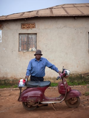 Vespa scooter owners in Uganda, Africa photographed by Ariel Tagar.