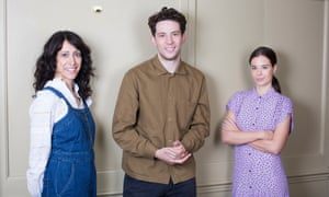 Happy family … Josh O'Connor, Harry Wootliff and Laia Costa. Photograph: Graeme Robertson/The Guardian