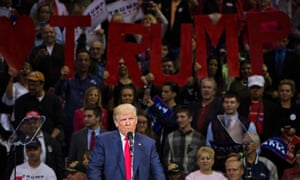 Donald Trump speaks during a rally at Mohegan Sun Arena in Wilkes-Barre, Pennsylvania.