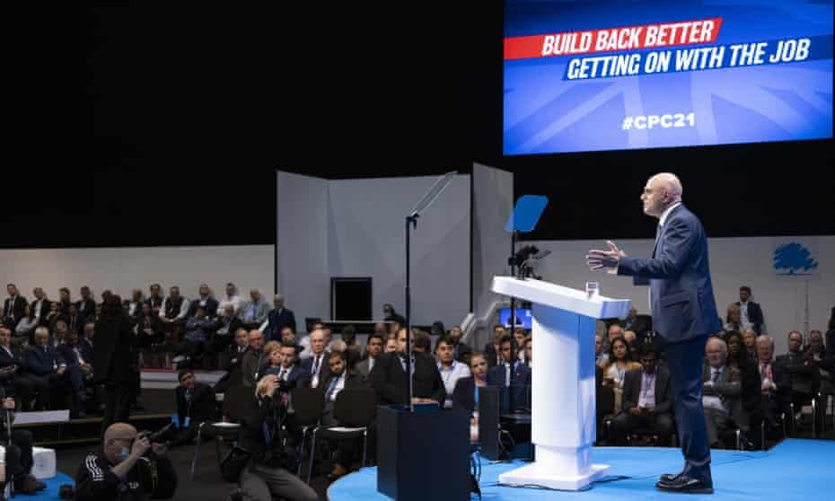 Sajid Javid addresses the Conservative party conference in Manchester, 5 October 2021.