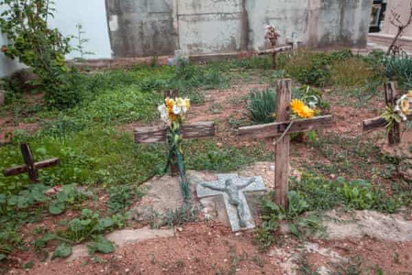 Graves of unidentified migrants at the cemetery of Lampedusa