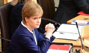Nicola Sturgeon in the Scottish parliament today.
