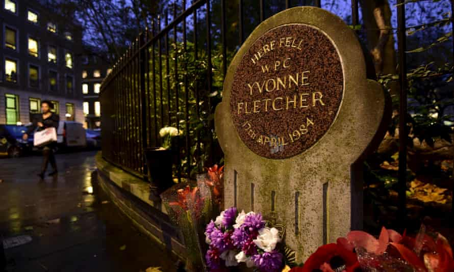 A memorial plaque for PC Yvonne Fletcher in St James's Square, London.