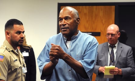 OJ Simpson leaves a parole hearing in Lovelock, Nevada. He left prison on Sunday.
