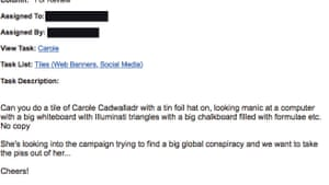 Email to an employee requesting artwork to make Carole look 'manic'.