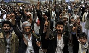 Shia Houthi rebels protest against Saudi Arabia air strikes