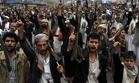 Shia Houthi rebels protest against Saudi Arabia air strikes
