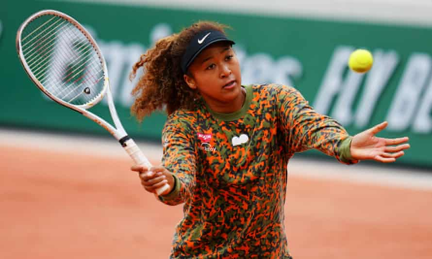 Naomi Osaka takes part in a practice session at Roland Garros.