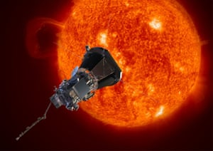 An artist's impression of the Parker Solar Probe spacecraft approaching the sun.