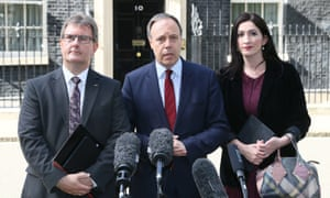 DUP deputy leader Nigel Dodds (centre) with fellow MPs Jeffrey Donaldson and Emma Little-Pengelly emerge from talks at No 10 Downing Street.
