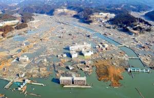 The devastated town of Minamisanriku, Miyagi, two days after the tsunami.